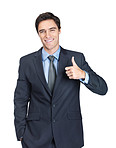 Handsome business man giving you a thumbs up