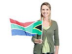 Smiling female with South Africa's flag against white