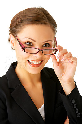 Buy stock photo Portrait of a young businesswoman gazing at something.