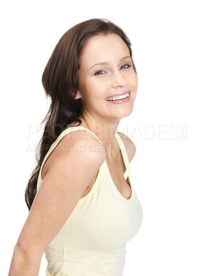 Buy stock photo Portrait of a smiling female in white isolated against white background