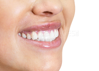 Buy stock photo Closeup cropped image of a female cute smile - White background