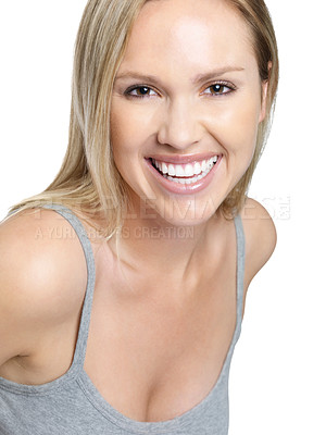 Buy stock photo Portrait of a smiling young female isolated against white