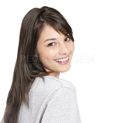 Buy stock photo Portrait of an attractive brunette isolated against white and looking at you