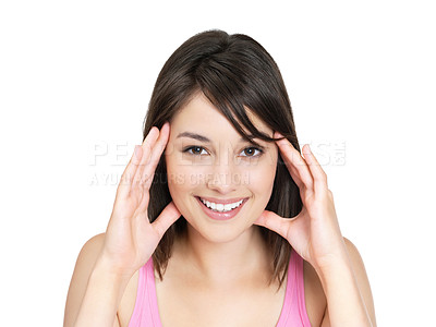 Buy stock photo Portrait of a cute female against white holding her face