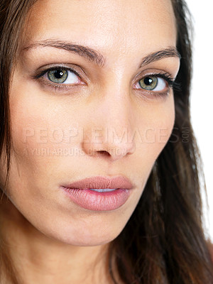 Buy stock photo Closeup portrait of a pretty young female