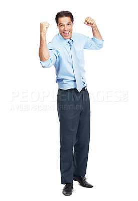 Buy stock photo Portrait of a businessman cheering isolated on white