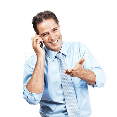 Buy stock photo A smiling businessman talking on his cellphone against a white background