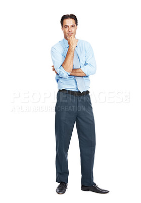 Buy stock photo Full length portrait of a businessman isolated on white