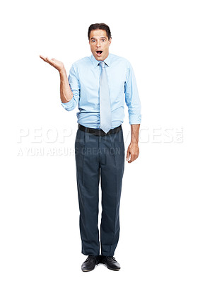 Buy stock photo Portrait of a mature businessman holding your exciting product in his hand