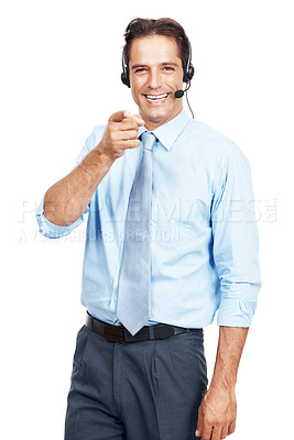 Buy stock photo Studio shot of a customer service agent wearing a headset pointing at the camera