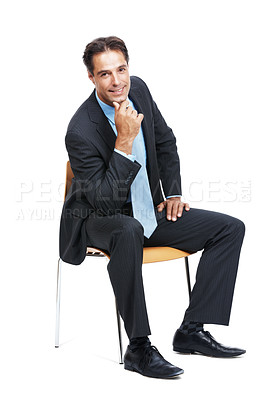 Buy stock photo Portrait of a successful mature businessman sitting on a chair against a white background