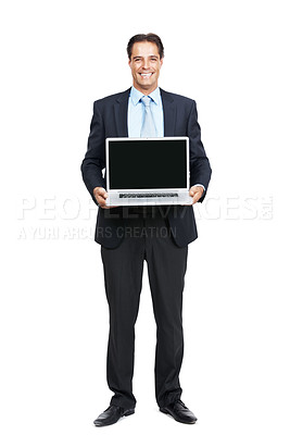 Buy stock photo Full length shot of a mature businessman holding up a laptop with a blank screen isolated on white