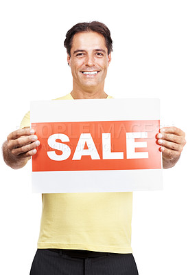 Buy stock photo Studio portrait of a man holding a sale sign against a white background