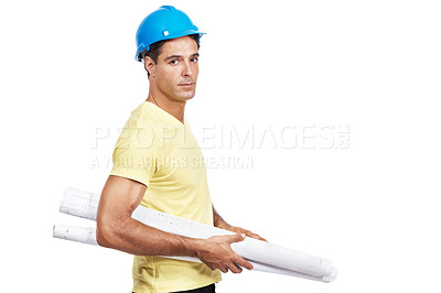 Buy stock photo Portrait of a mature construction worker holding blueprints against a white background