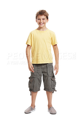 Buy stock photo Full length portrait of a happy little boy standing isolated over white background