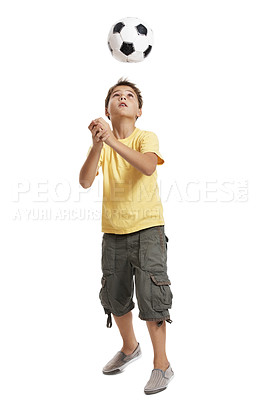 Buy stock photo Portrait of an adorable boy playing with football against white background