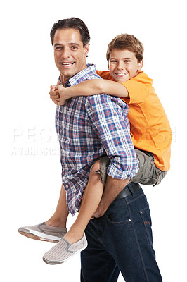 Buy stock photo Portrait of happy man carrying his son on back isolated against white background