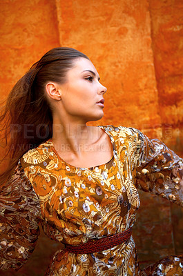 Buy stock photo Shot of a stylishly dressed young woman