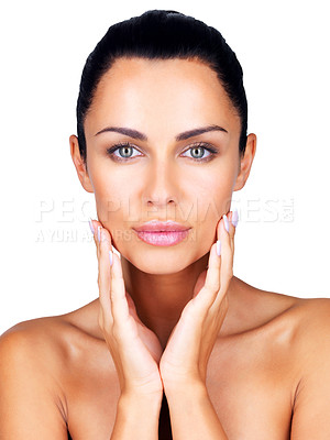 Buy stock photo Closeup portrait of a sexy young girl with her hands on cheeks against white background