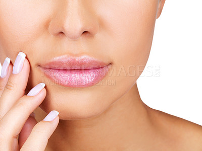 Buy stock photo Closeup portrait of beautiful girl's lower part of face and manicured fingers