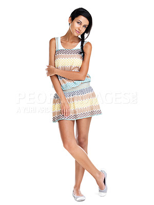 Buy stock photo Full length of a sexy young woman young female fashion model posing against white background