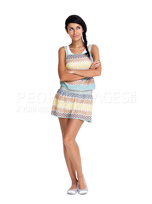 Buy stock photo Full length of a cute young girl thinking while looking at copyspace over white  background