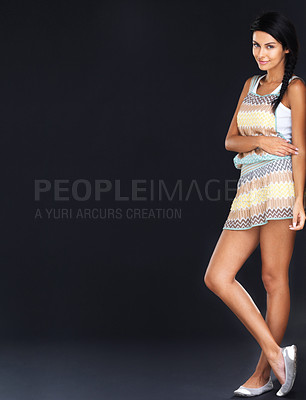 Buy stock photo Full length of a pretty young lady standing over grunge background