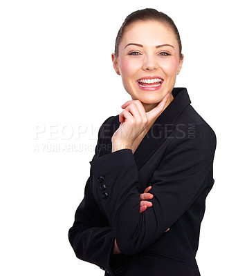 Buy stock photo Portrait of a beautiful young business woman, happy and smiling and on isolated background.