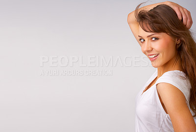 Buy stock photo Close-up portrait of a fresh and beautiful young fashion model