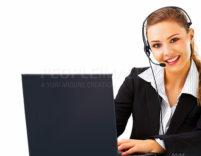 Buy stock photo Young and smiling operator works on a laptop computer over white background