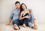 Relaxed couple on floor