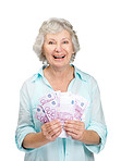 Happy senior woman holding Euro