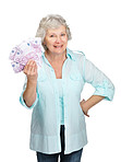 Pretty old female holding cash in hand