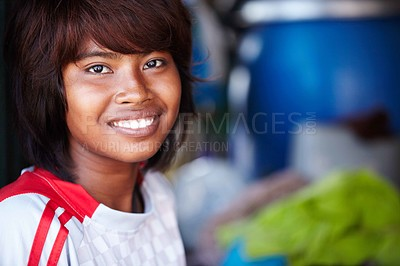 Buy stock photo A close-up of a smiling Asian girl with copyspace