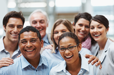 Buy stock photo Business success - Group of diverse colleagues having a laugh together
