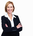 Beautiful mature female lawyer standing with hands folded