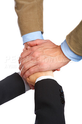 Buy stock photo Hands on top of each other
