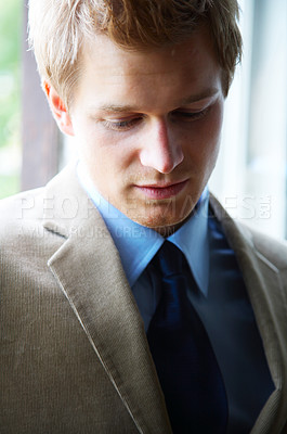 Buy stock photo Young Businessman full of ideas