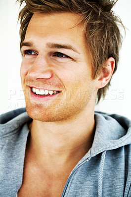 Buy stock photo A trendy European man dressed in contemporary clothling