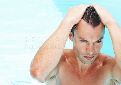 Buy stock photo Young wet sexy man posing in swimming pool