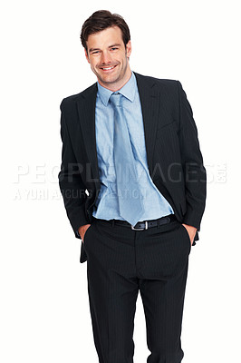 Buy stock photo Portrait of handsome young business man smiling over white background