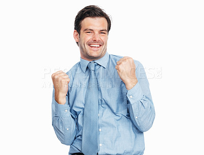 Buy stock photo Champion young business man standing with clenched fist in victory on white background