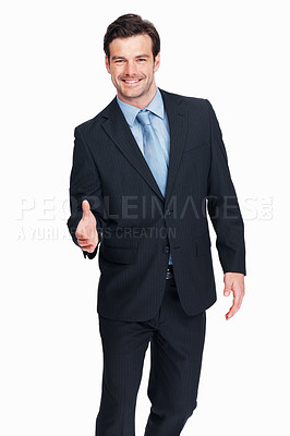 Buy stock photo Portrait of young successful business man offering handshake on white background