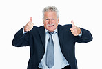Enthusiastic business man giving thumbs up gesture