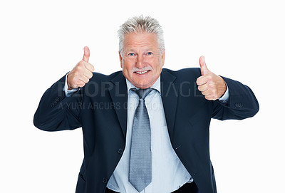 Buy stock photo Portrait of enthusiastic senior business man giving thumbs up gesture over white background