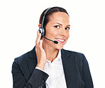 Smiling call center executive