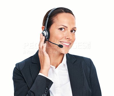 Buy stock photo Closeup of smiling call center executive wearing headphones over white background