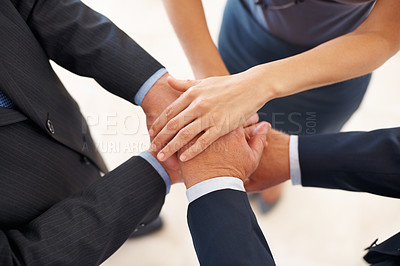 Buy stock photo Portrait of business people taking oath together