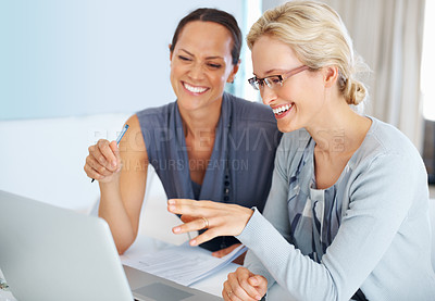Buy stock photo Closeup of cheerful beautiful female executives spending good time together while discussing