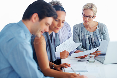 Buy stock photo Portrait of busy executives taking notes during presentation in office